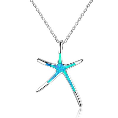 Tinnivi Sterling Silver Blue Opal Starfish Pendant Necklace