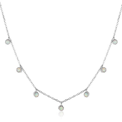 Tinnivi Elegant Sterling Silver Opal Pendant Necklace