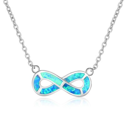 Tinnivi Sterling Silver Infinite Blue Opal Pendant Necklace