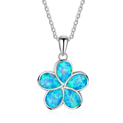 Tinnivi Sterling Silver Flower Shape Blue Opal Pendant Necklace