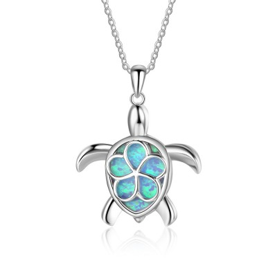 Tinnivi Sterling Silver Blue Opal Cute Flower Turtle Pendant Necklace