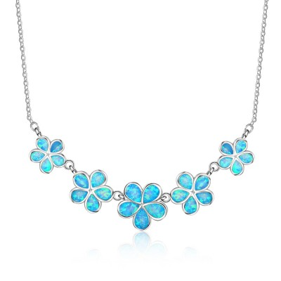 Tinnivi Flower Blue Opal Sterling Silver Necklace