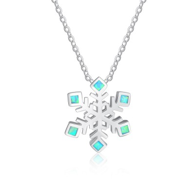Tinnivi Snowflake Blue Opal Sterling Silver Pendant Necklace