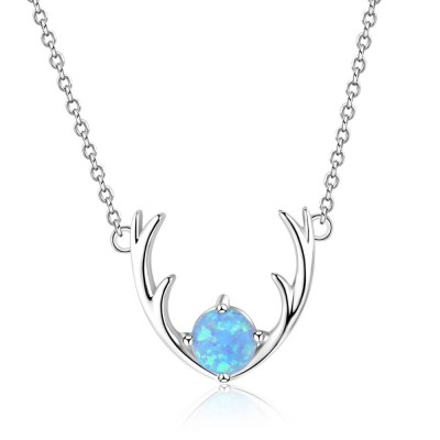 Tinnivi Sterling Silver Elk Horn Round Cut Blue Opal Pendant Necklace