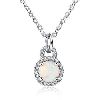Tinnivi Sterling Silver Lock Shape Round Cut Opal Pendant Necklace