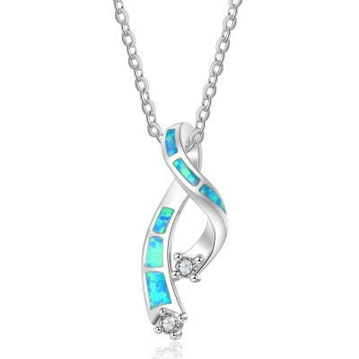Tinnivi Sterling Silver Kont Blue Opal With Created White Sapphire Pendant Necklace
