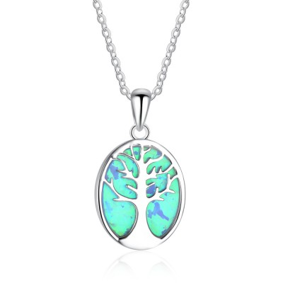 Tinnivi Sterling Silver Tree Blue Opal Pendant Necklace
