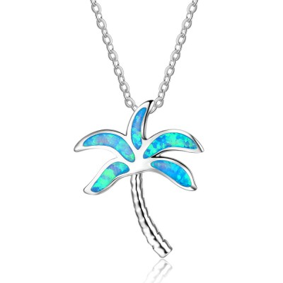 Tinnivi Sterling Silver Plam Tree Blue Opal Pendant Necklace