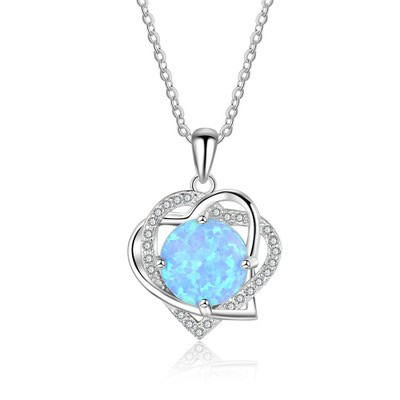 Tinnivi Double Heart Round Cut Blue Opal Sterling Silver Pendant Necklace