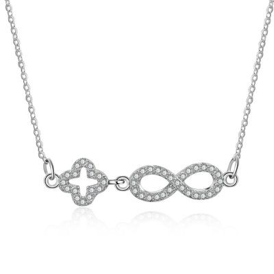 Tinnivi Sterling Silver Four Leaf Clover And Infinite Created White Sapphire Pendant Necklace