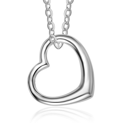 Tinnivi Sterling Silver Heart Hollow Out Pendant Necklace