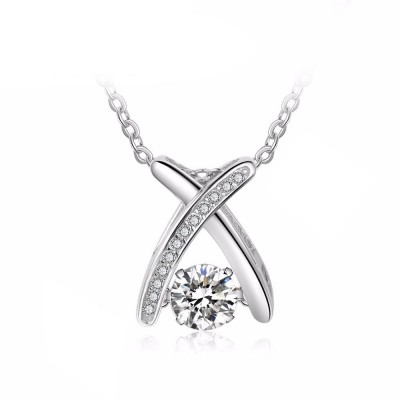 Tinnivi X Shape Moving Created White Sapphire Sterling Silver Pendant Necklace