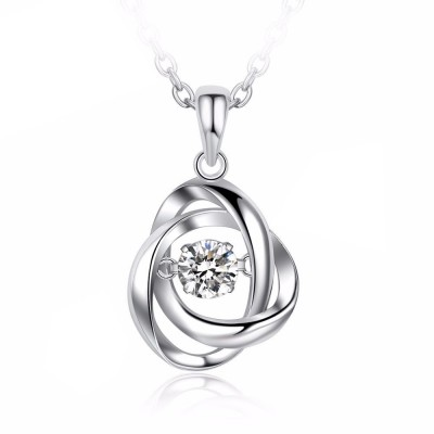 Tinnivi Spiral Sterling Silver Moving Created White Sapphire Pendant Necklace