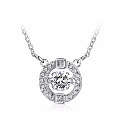Tinnivi Sterling Silver Circle Moving Created White Sapphire Pendant Necklace