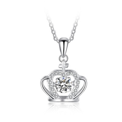Tinnivi Cross Crown Sterling Silver Moving Created White Sapphire Pendant Necklace