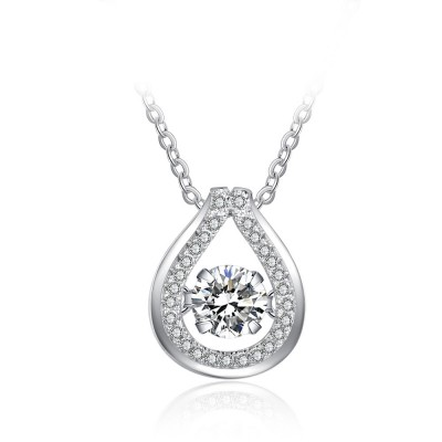 Tinnivi Teardrop Sterling Silver Moving Created White Sapphire Pendant Necklace