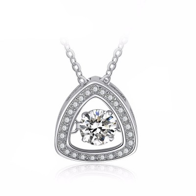 Tinnivi Triangle Sterling Silver Moving Created White Sapphire Pendant Necklace