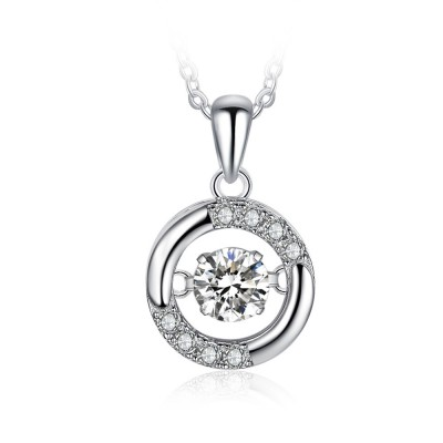 Tinnivi Circle Sterling Silver Moving Created White Sapphire Pendant Necklace