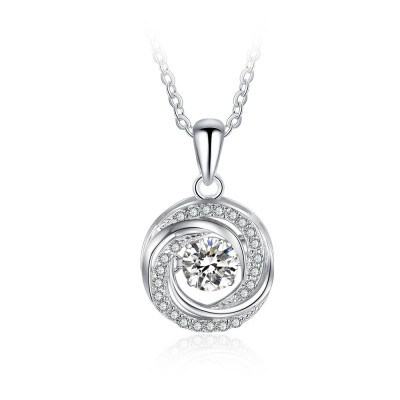 Tinnivi Spiral Circle Sterling Silver Moving Created White Sapphire Pendant Necklace