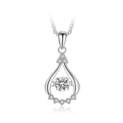 Tinnivi Stylish Sterling Silver Moving Created White Sapphire Pendant Necklace