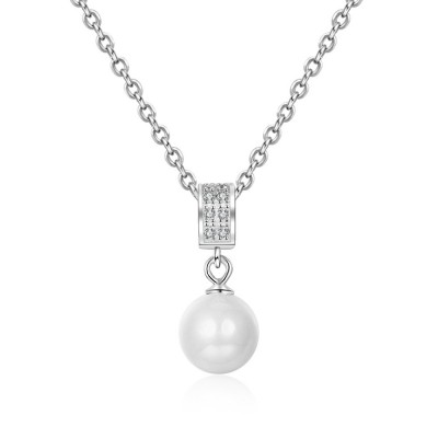 Tinnivi Elegant Sterling Silver Pearl Pendant Necklace