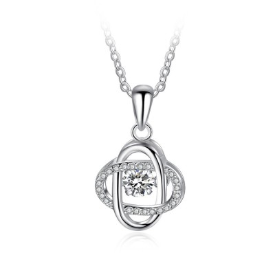 Tinnivi Fashion Sterling Silver Moving Created White Sapphire Pendant Necklace