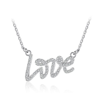 Tinnivi Sterling Silver Love Created White Sapphire Pendant Necklace