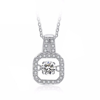 Tinnivi Square Shape Sterling Silver Moving Created White Sapphire Pendant Necklace