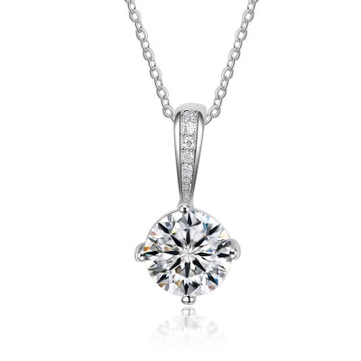 Tinnivi Sterling Silver Simple Round Cut Created White Sapphire Pendant Necklace