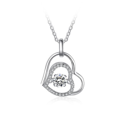 Tinnivi Double Heart Sterling Silver Moving Created White Sapphire Pendant Necklace