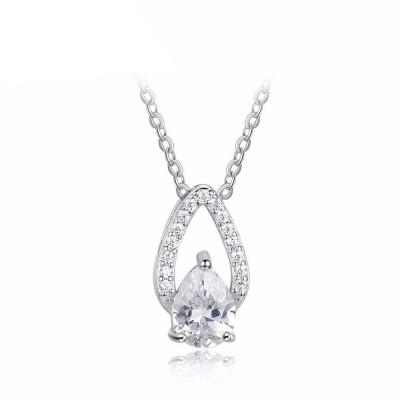 Tinnivi Teardrop Sterling Silver Moving Pear Cut Created White Sapphire Pendant Necklace