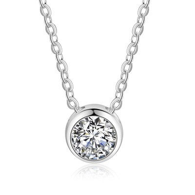Tinnivi Simple Sterling Silver Round Cut Created White Sapphire Pendant Necklace