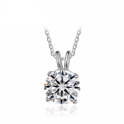 Tinnivi Classic Sterling Silver Round Cut Created White Sapphire Pendant Necklace