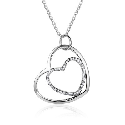 Tinnivi Double Heart Sterling Silver Created White Sapphire Pendant Necklace
