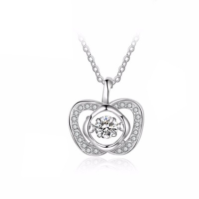 Tinnivi Apple Shape Sterling Silver Moving Created White Sapphire Pendant Necklace