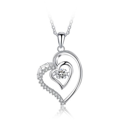 Tinnivi Sterling Silver Double Heart Moving Created White Sapphire Pendant Necklace