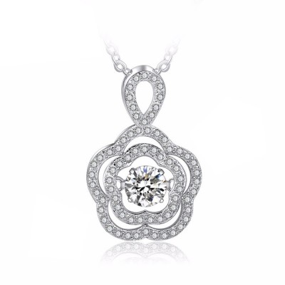 Tinnivi Sterling Silver Flower Moving Created White Sapphire Pendant Necklace