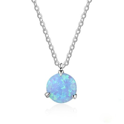 Tinnivi Simple Blue Opal Sterling Silver Pendant Necklace