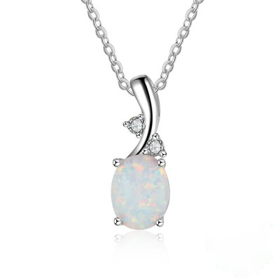 Tinnivi Fashion Oval Cut Opal Sterling Silver Pendant Necklace