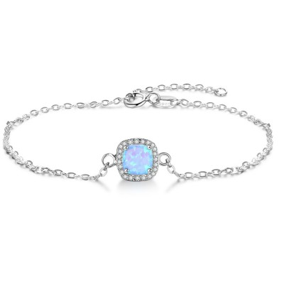 Tinnivi Halo Cushion Cut Blue Opal Sterling Silver Bracelet