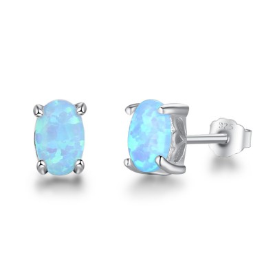 Tinnivi Sterling Silver Classic Oval Cut Blue Opal Stud Earrings