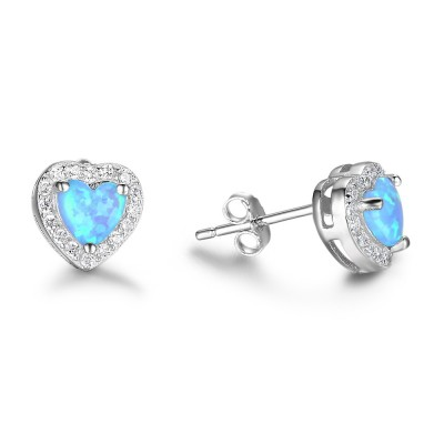 Tinnivi Sterling Silver Halo Heart Cut Blue Opal Stud Earrings