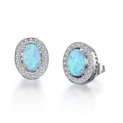 Tinnivi Sterling Silver Halo Oval Cut Blue Opal Stud Earrings