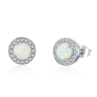 Tinnivi Halo Round Cut Opal Sterling Silver Stud Earrings