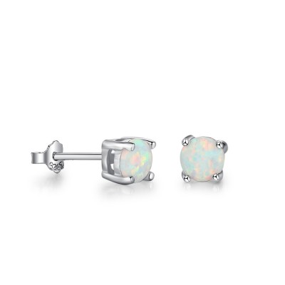 Tinnivi Sterling Silver Classic Round Cut Opal Stud Earrings