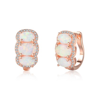 Tinnivi Rose Gold Plated Sterling Silver Three Stone Oval Cut Opal Hoop Earrings