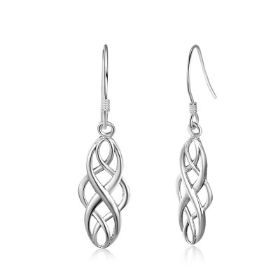 Tinnivi Polished Vintage Celtic Sterling Silver Drop Earrings
