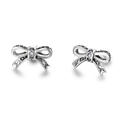 Tinnivi Sterling Silver Created White Sapphire Bowknot Stud Earrings