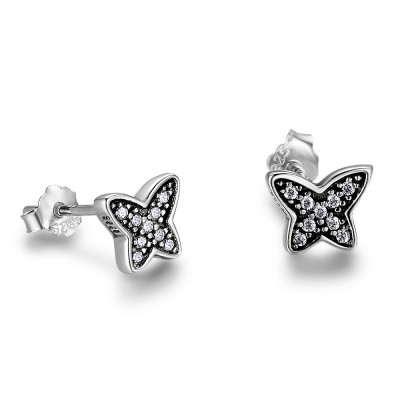 Tinnivi Sterling Silver Cute Butterfly Created White Sapphire Stud Earrings