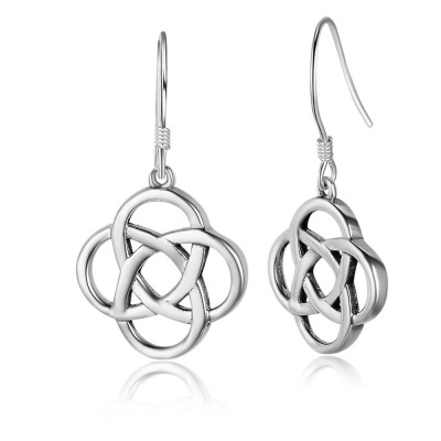 Tinnivi Polished Flower Shape Sterling Silver Drop Earrings